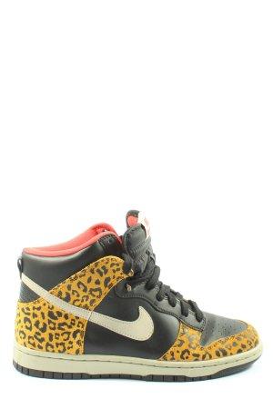 Nike High Top Sneaker schwarz-blassgelb abstraktes Muster Casual-Look