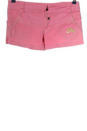 Nike Jeansshorts pink-blassgelb Schriftzug gedruckt Casual-Look