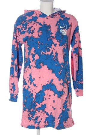 Nike Kapuzenkleid blau-pink abstraktes Muster Casual-Look
