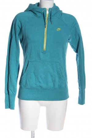 Nike Kapuzensweatshirt blau-blassgelb Schriftzug gestickt Casual-Look