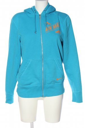 Nike Kapuzensweatshirt blau-hellorange Schriftzug gedruckt Casual-Look