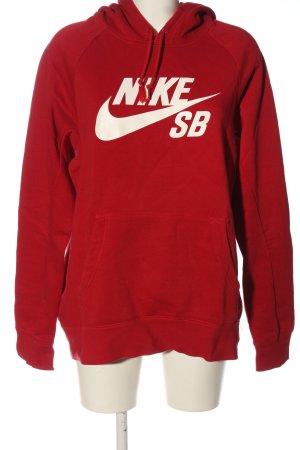 Nike Kapuzensweatshirt rot-weiß Schriftzug gedruckt Casual-Look