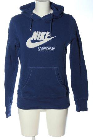 Nike Kapuzensweatshirt blau-weiß Motivdruck Casual-Look