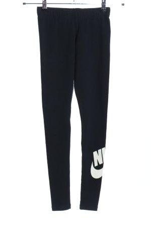 Nike Leggings blau-weiß Schriftzug gedruckt Casual-Look