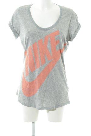 Nike Longshirt hellgrau-hellorange Schriftzug gedruckt schlichter Stil