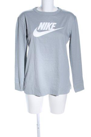 Nike Longsleeve weiß-hellgrau Motivdruck Casual-Look