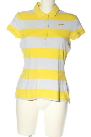 Nike Polo-Shirt blassgelb-hellgrau Streifenmuster Casual-Look