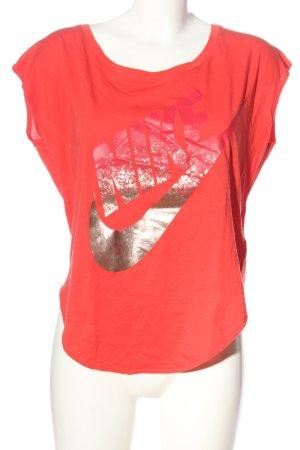 Nike Print-Shirt rot-bronzefarben Schriftzug gedruckt Casual-Look