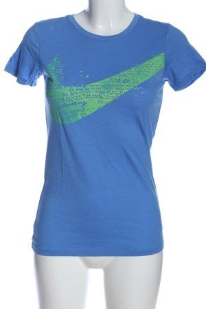 Nike Print-Shirt blau-grün Motivdruck Casual-Look