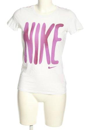 Nike Print-Shirt weiß-pink Casual-Look
