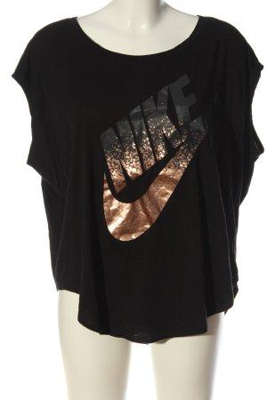 Nike Print-Shirt schwarz-bronzefarben Schriftzug gedruckt Casual-Look