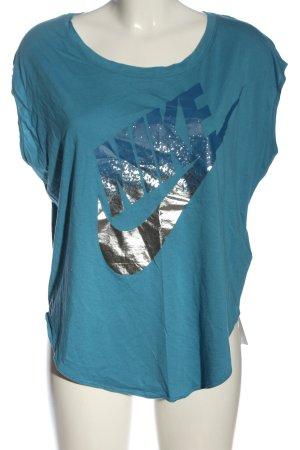 Nike Print-Shirt blau Schriftzug gedruckt Casual-Look
