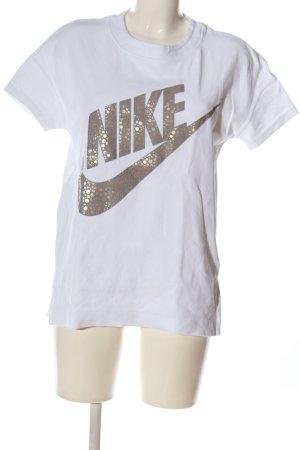 Nike Print-Shirt weiß Schriftzug gedruckt Casual-Look