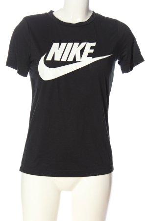 Nike Print-Shirt schwarz-weiß Schriftzug gedruckt Casual-Look