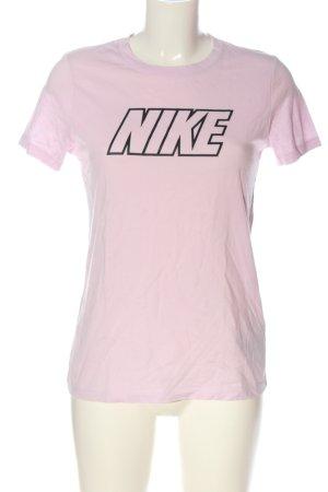 Nike Print-Shirt pink-schwarz Schriftzug gedruckt Casual-Look