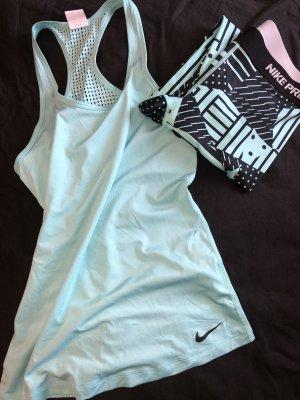 Nike Débardeur de sport bleu clair-noir