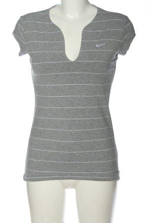 Nike Ringelshirt hellgrau-weiß Allover-Druck Casual-Look
