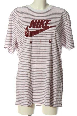 Nike Ringelshirt rot-weiß Schriftzug gedruckt Casual-Look