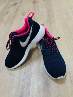 NIKE ROSHE RUN Gr. 36,5 Navy Silver Pink Laufschuhe sneakers Sportschuhe