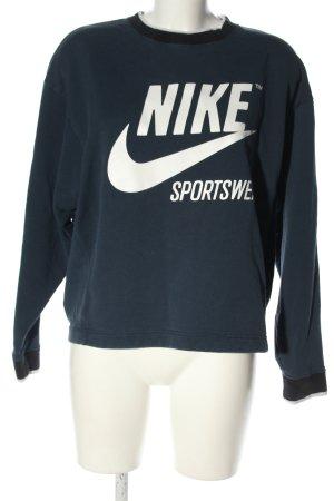 Nike Rundhalspullover blau Schriftzug gedruckt Casual-Look