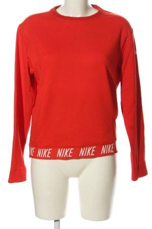 Nike Rundhalspullover rot-weiß Schriftzug gedruckt Casual-Look