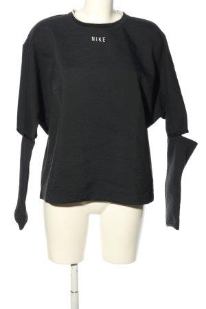 Nike Rundhalspullover schwarz-weiß Schriftzug gedruckt Casual-Look