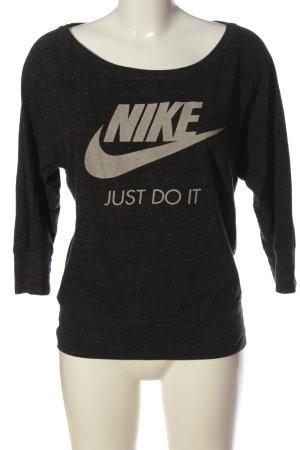 Nike Rundhalspullover schwarz-wollweiß meliert sportlicher Stil