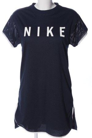 Nike Shirtkleid blau Schriftzug gedruckt Casual-Look