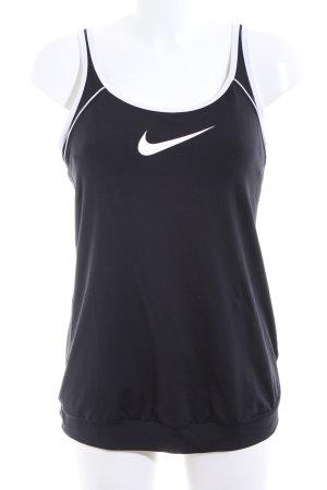 Nike Spaghettiträger Top schwarz-weiß Motivdruck Casual-Look