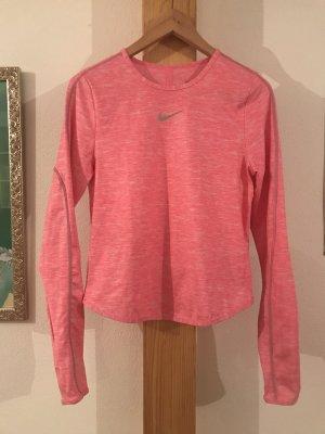 Nike Sport Shirt Dri Fit Top langärmlig Joggen Pink