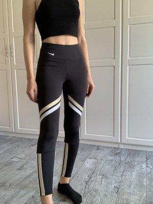Nike Sport Tights 7/8 Leggings schwarz gold weiß Streifen S 36 neuwertig