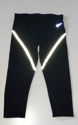 Nike Sportleggings Leggings Sporthose 7/8 Laufhose reflektierend Größe S 36 Handytasche schwarz