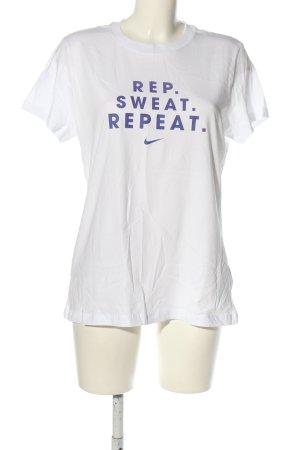 Nike Sportshirt weiß-blau Schriftzug gedruckt Casual-Look