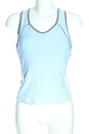 Nike Sportshirt türkis-hellgrau Schriftzug gestickt schlichter Stil
