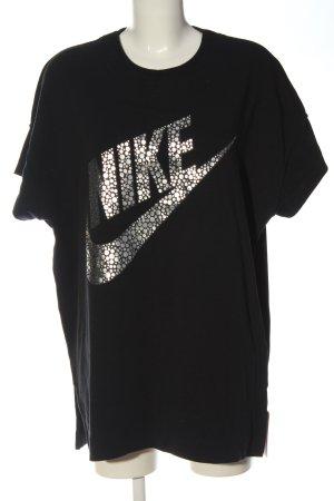 Nike Sportshirt schwarz-silberfarben Schriftzug gedruckt Casual-Look
