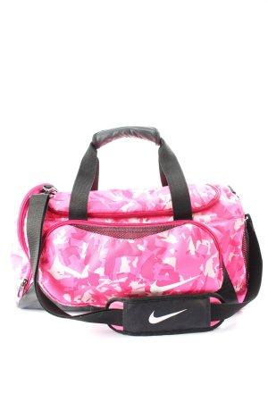 Nike Bolsa de gimnasio rosa-negro estampado repetido sobre toda la superficie