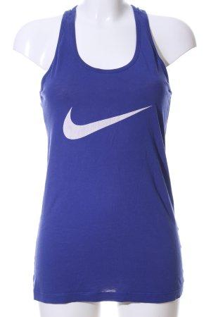 Nike Sporttop blau-weiß Motivdruck Casual-Look