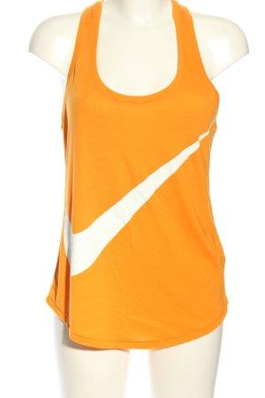 Nike Sporttop hellorange-weiß Motivdruck sportlicher Stil