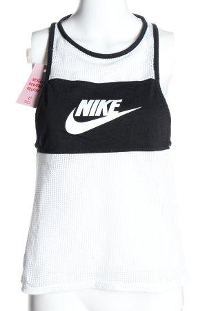Nike Sporttop weiß-schwarz Schriftzug gedruckt Casual-Look