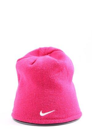 Nike Sombrero de punto rosa estampado temático look casual