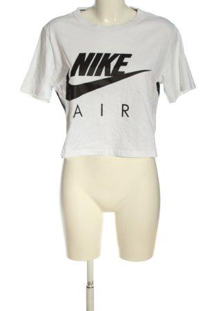Nike Strickshirt weiß-schwarz Motivdruck Casual-Look