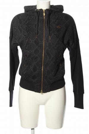 Nike Sweatjacke schwarz-hellgrau abstraktes Muster Casual-Look