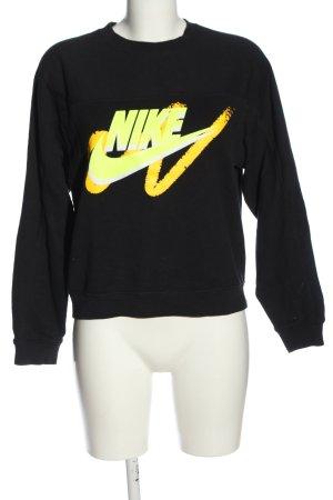 Nike Sweatshirt schwarz-blassgelb Schriftzug gedruckt Casual-Look