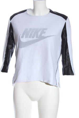 Nike Sweatshirt weiß-schwarz Schriftzug gedruckt Casual-Look