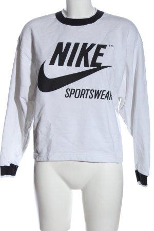 Nike Sweatshirt weiß-schwarz Motivdruck Casual-Look