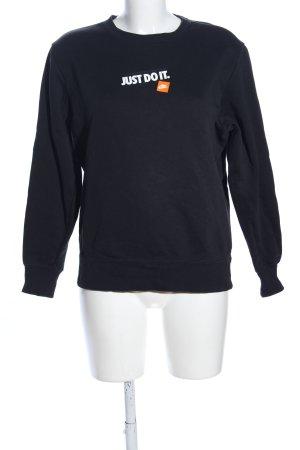 Nike Sweatshirt schwarz-weiß Schriftzug gedruckt Casual-Look