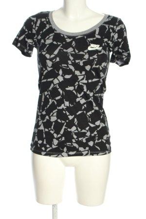 Nike T-Shirt schwarz-hellgrau abstraktes Muster Casual-Look