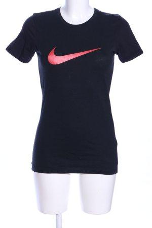 Nike T-Shirt schwarz-rot Motivdruck sportlicher Stil