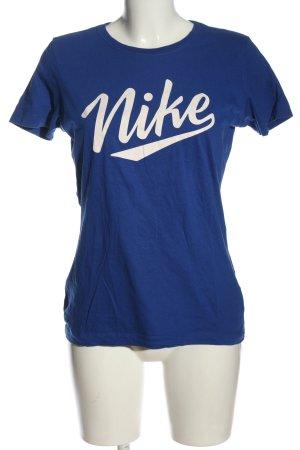 Nike T-Shirt blau Schriftzug gedruckt Casual-Look