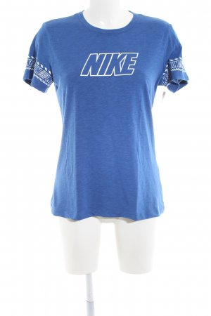 Nike T-Shirt blau-weiß grafisches Muster Casual-Look